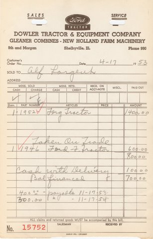 All in the Family | Original invoice from Dowler Tractor & Equipment Company, Shelbyville, Ill