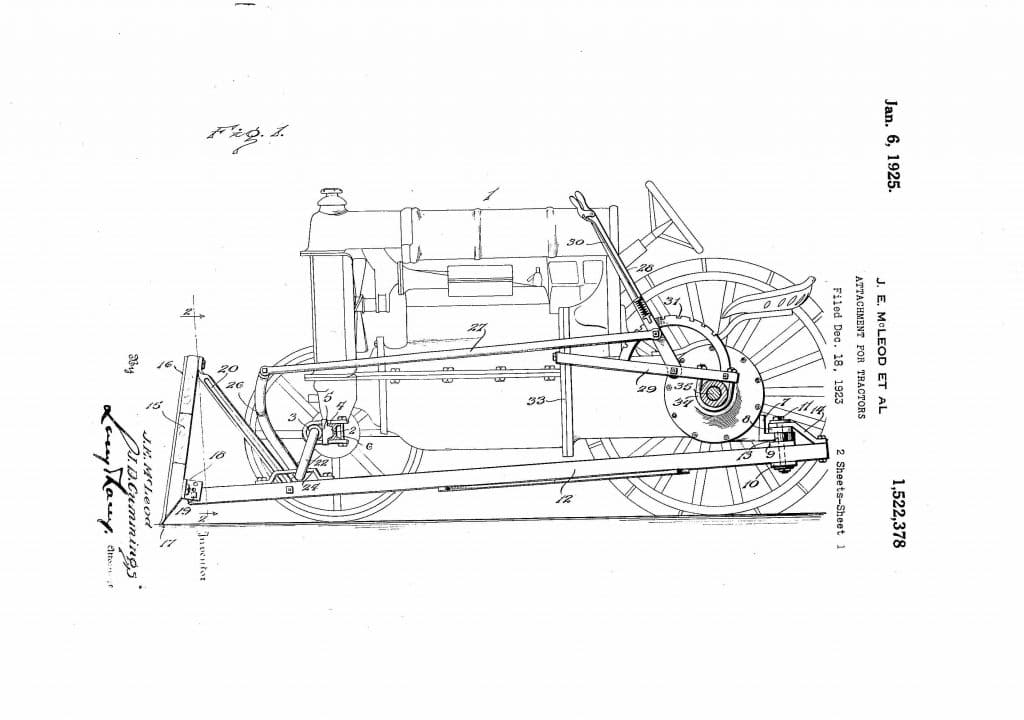 "Bull Dozed | Cummings and McLeod 1925 approved patent for ""scraper blade mounted"" on a tractor."
