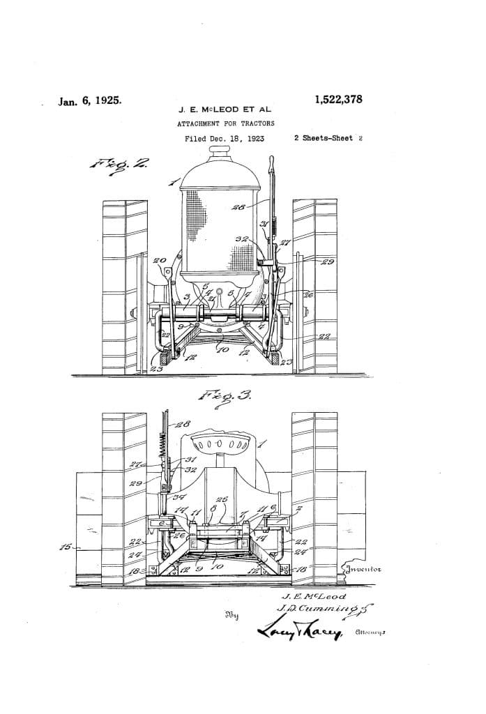 "Bulldozed | Cummings and McLeod 1925 approved patent for ""scraper blade mounted"" on a tractor."