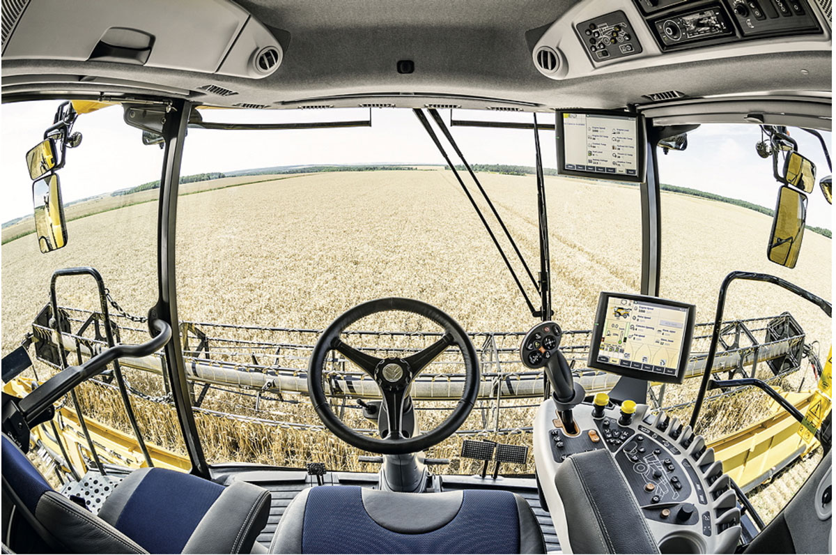The view from the New Holland CR Revelation cab.