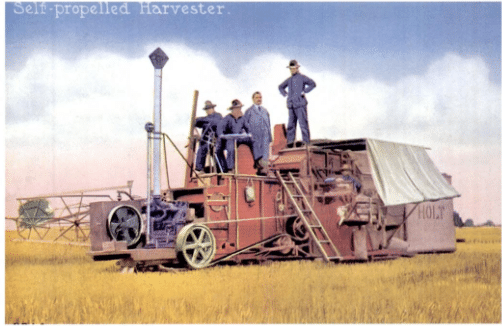 Holt's self-propelled combine, first built in 1911