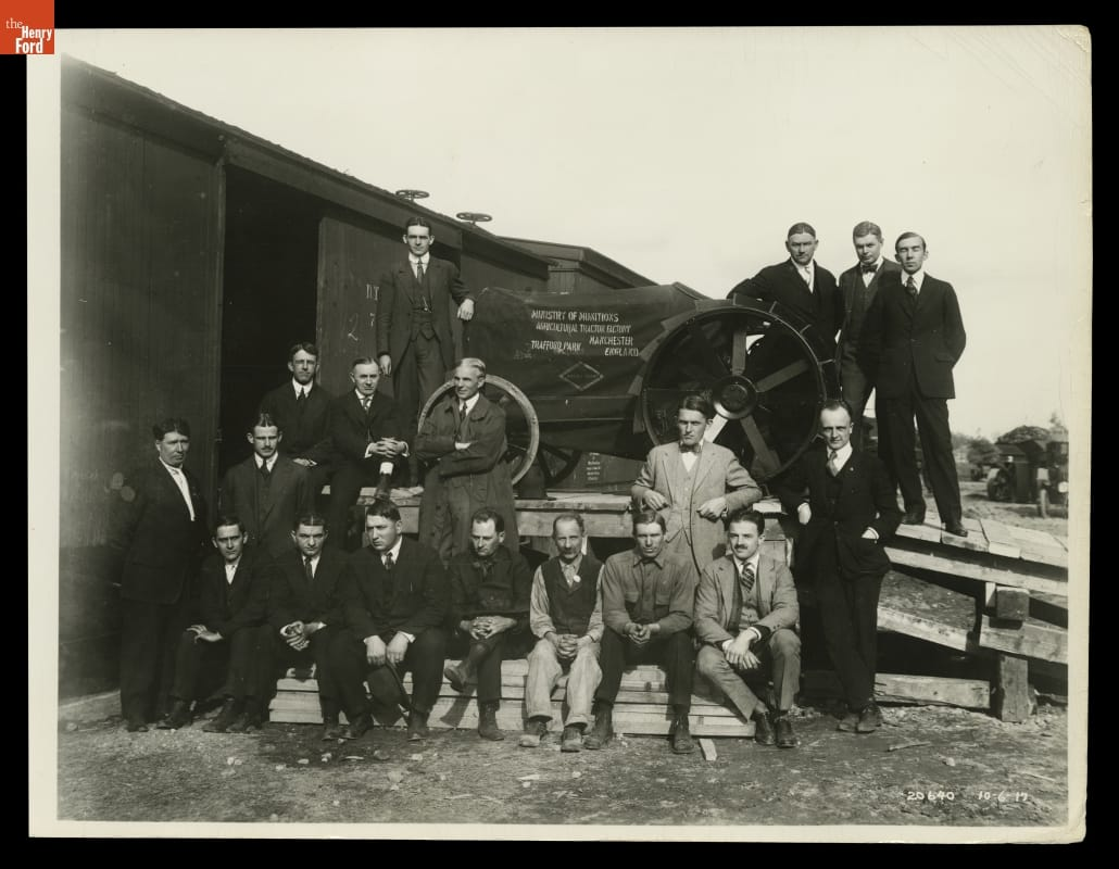 Henry Ford and executives with the first commercial Fordson Tractor